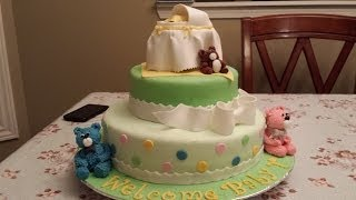 Super Cute Baby Shower Cake - Bassinet And Teddy Bears