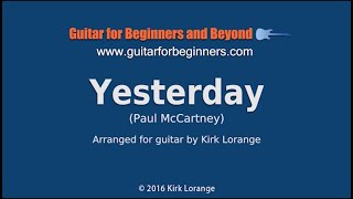 Yesterday - A Fingerstyle Guitar Lesson.