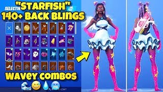 "NEW ""STARFISH"" SKIN Showcased With 140+ BACK BLINGS! Fortnite Battle Royale (BEST STARFISH COMBOS)"