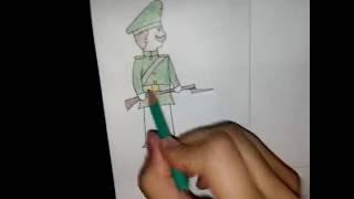 Как нарисовать русского солдата (вторая половина XIX века)?)))(Пишите в коментариях что вам показать, как рисуется. Рыбы, собаки, кошки, дикие животные, машины, люди (солдат..., 2016-07-24T11:04:51.000Z)