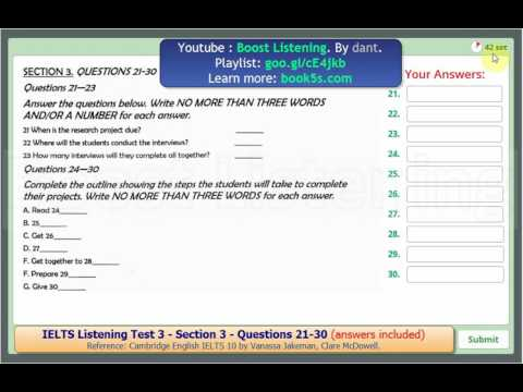 IELTS Listening Test 3 - Section 3- Question 21-30 (Answers included