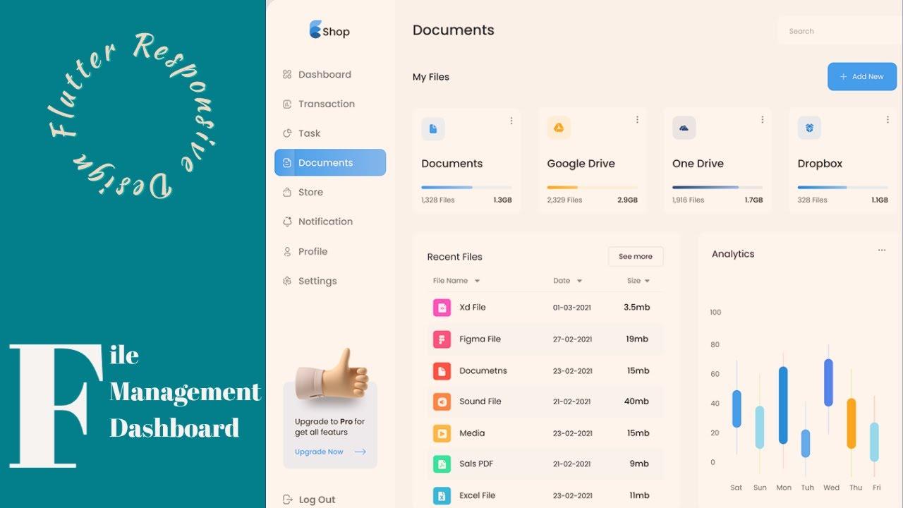 Responsive File Management Admin Panel Or Dashboard - Flutter UI - Speed Code