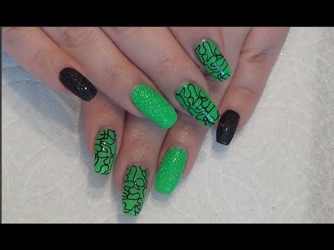 Green & Black Gel Nail Design | Stamping | Sugaring | Beanana711 - Green & Black Gel Nail Design Stamping Sugaring Beanana711