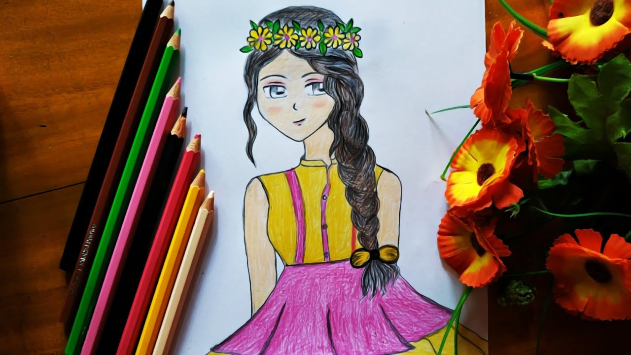 Girl With Flower Crown Drawing Easy Anime Girl Drawing For Beginners Tutorial Step By Step Bd Art Op Youtube