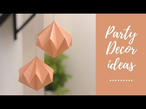 paper party decor - origami diamond - DIY-paper ornament- simple / backdrop / wall hanging