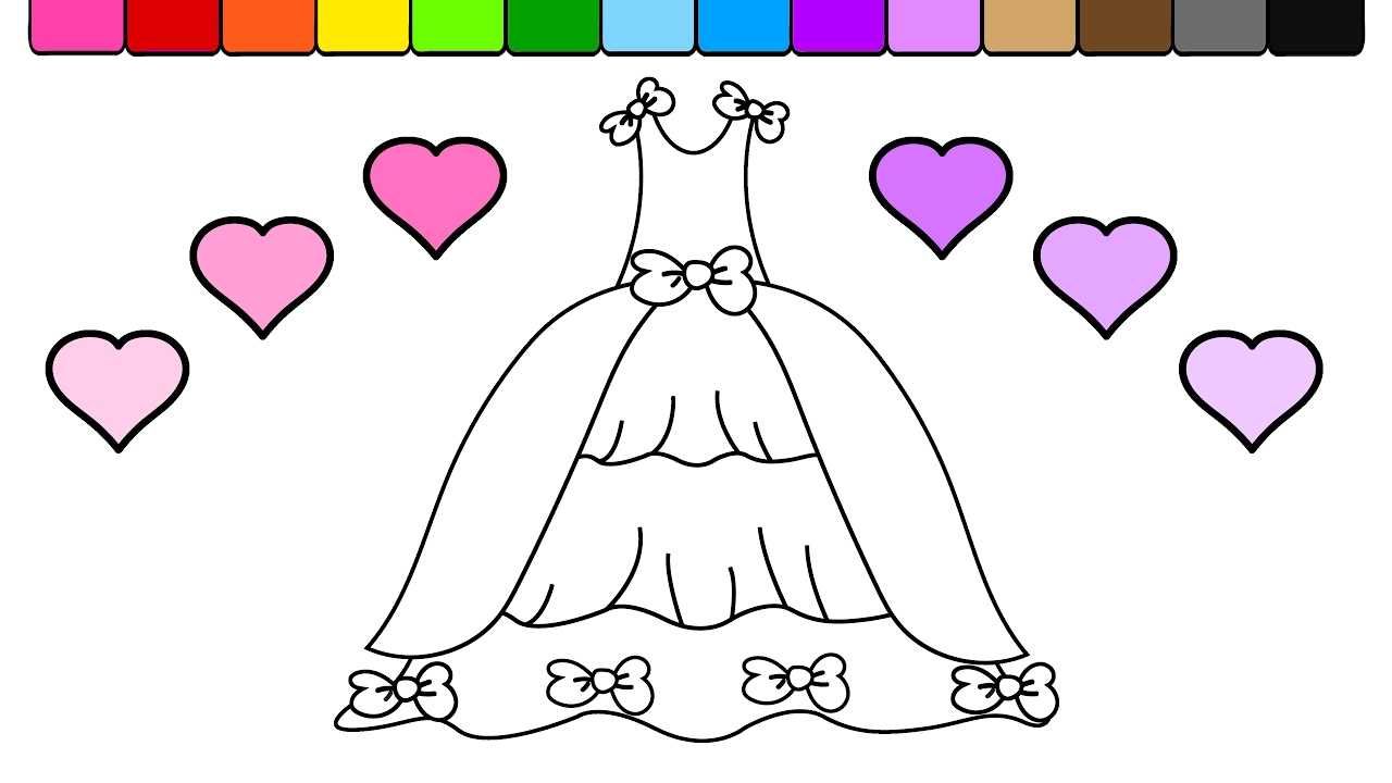 Learn To Color For Kids And Color This Pretty Princess Dress Coloring Page