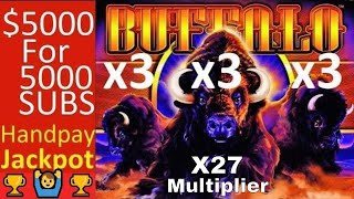 High Limit BUFFALO Slot Machine 🏆BIG HANDPAY JACKPOT🏆 $5000 Special Slot Play for 5000 Subscribers