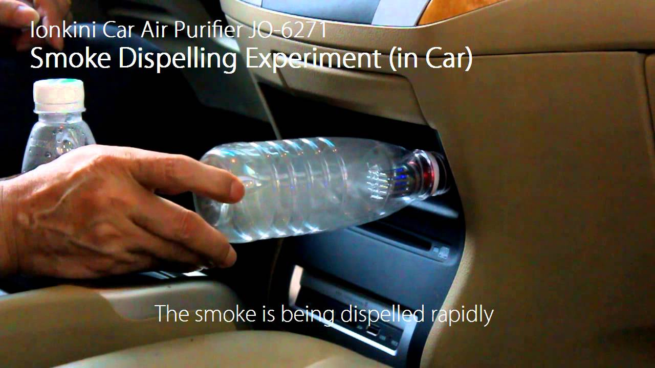 ionkini car air purifier ionizer jo 6271 smoke dispelling experiment in car youtube. Black Bedroom Furniture Sets. Home Design Ideas