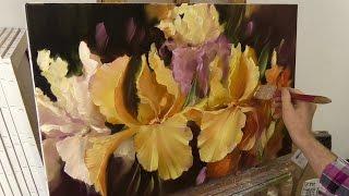 Ирисы. Этюд. Irises. Etude. Oil Painting. Живопись маслом. Как написать ирисы.