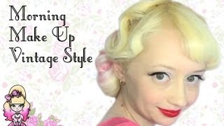 Vintage Style Red Lips and Black Liner  - Morning Make Up - Violet LeBeaux