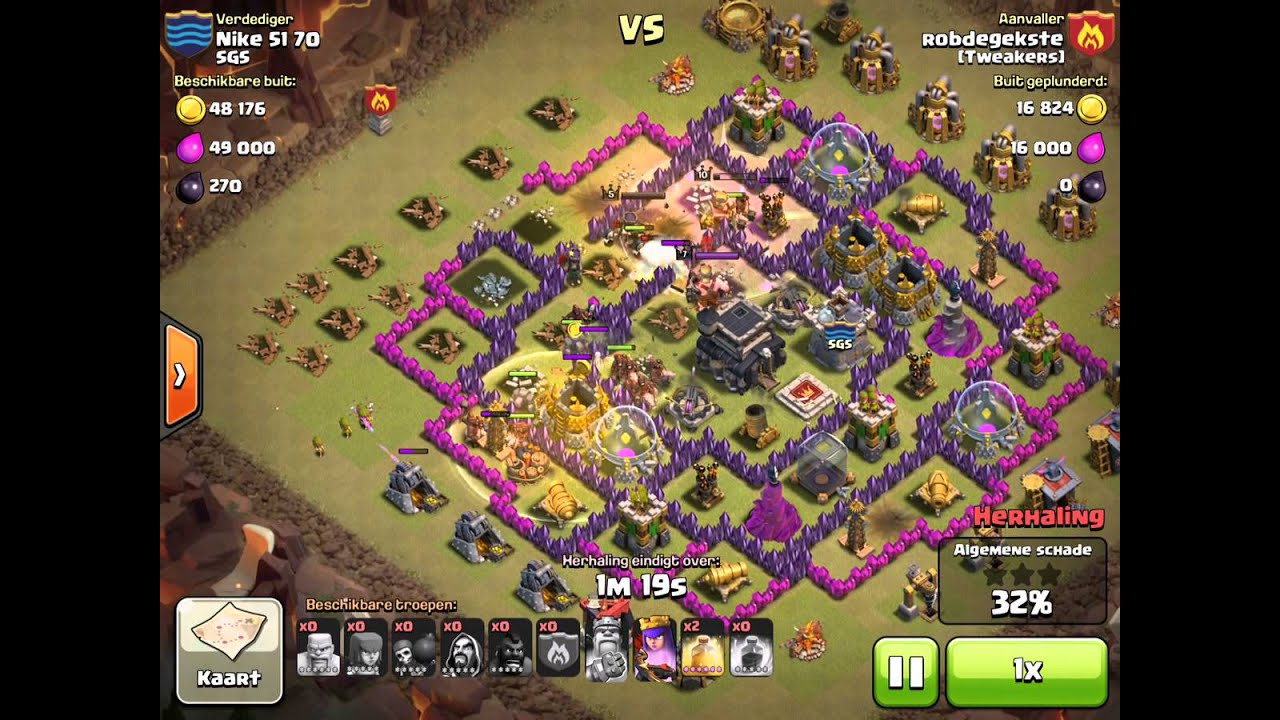 CoC TH9 Awesome hog attack - YouTube