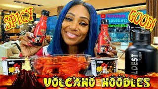 Volcano Noodles and 2X spicy wings with makeup haul