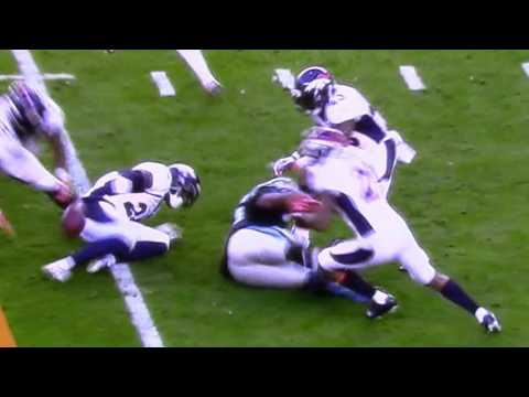 Sk8Gr8| Super Bowl 50 Mike Tolbert Carolina Hurricane Fumble Zoomed SloMo HD-2nd Quarter
