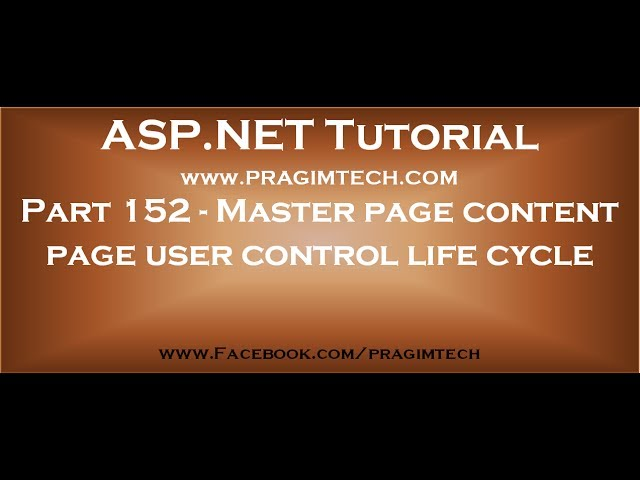 Part 152   Master page content page user control life cycle in asp net