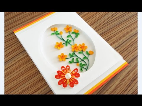 Paper Quilling Flower For beginner Learning Video 17 // Paper Flower Card