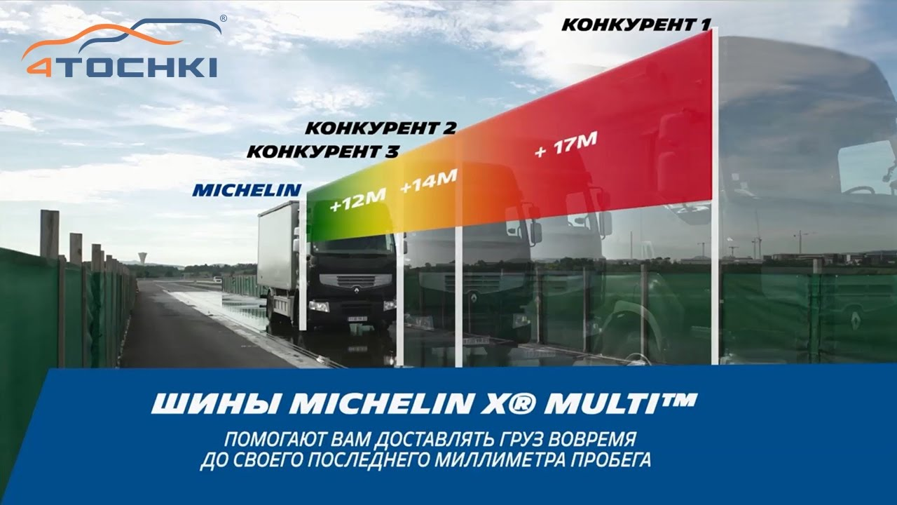 Тест - торможение Michelin X Multi на мокром асфальте на 4 точки. Шины и диски 4точки