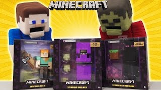 Minecraft Survival mode SERIES 4 - 5 inch action Figures - Enderman, Spinning Shulker, Chopping Alex
