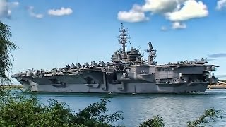 USS Kitty Hawk (CV-63) Leaving Pearl Harbor - Hawaii