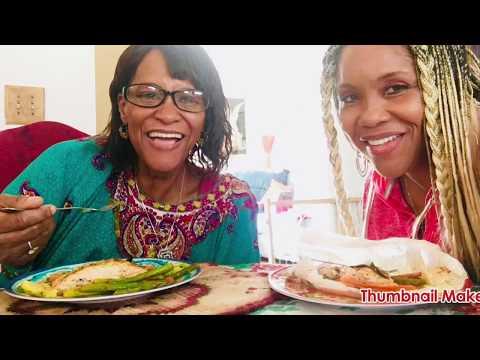 MOM'S SALMON & VEGES RECIPE MUKBANG VIDEO 298!