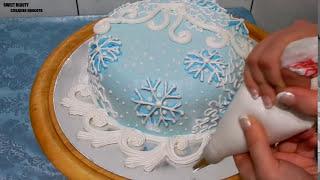 """УКРАШЕНИЕ ТОРТА К НОВОМУ ГОДУ - Торт """"ВАЛЬС СНЕЖИНОК"""", cake decoration"""