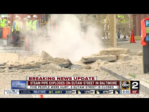 Steam pipe explodes on Eutaw Street in Baltimore