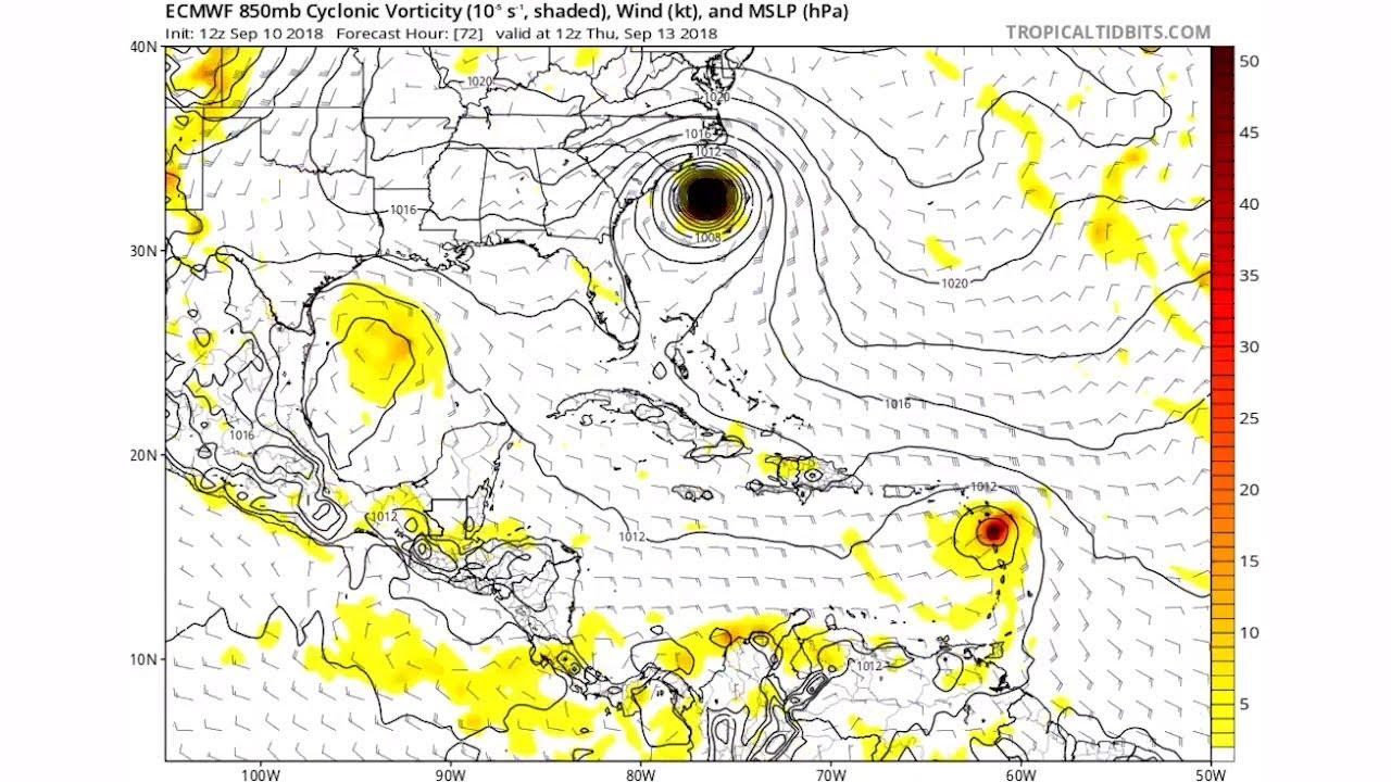 European hurricane model shows Hurricane Florence heading straight for the Carolinas