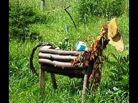 Смотреть онлайн Оригинальная клумба, деревянная лошадка