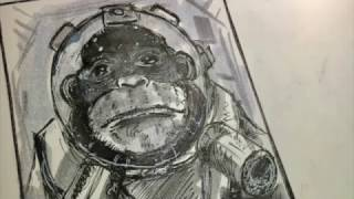 How to Draw A Space Monkey (Time Lapsed)