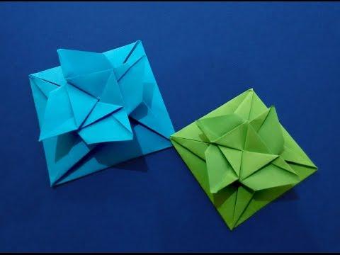 Easy Origami Square flower envelope with secret message inside. DIY Valentine card.