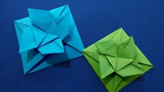 Easy Origami Square flower envelope with secret message inside. DIY Valentine card.
