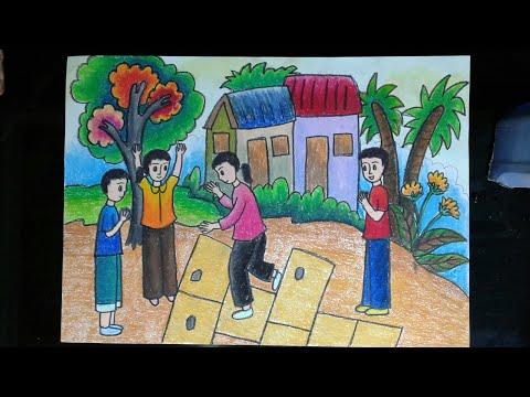 Vẽ tranh trò chơi dân gian (chơi nhảy lò cò )