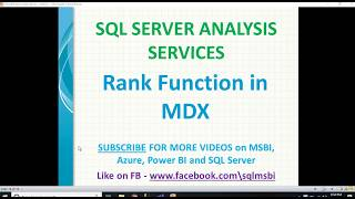 Rank Function in MDX | mdx queries rank | ssas rank function