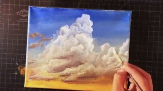 How To Paint Clouds And Sunset Youtube