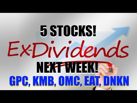 Stocks Ex Dividend Next Week GPC, KMB, OMC, EAT, DNKN  - 2 WITH 45+ YEARS OF INCREASING DIVIDENDS!