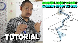 Statics Tutorial - Ch. 4 Moment about a Point  about an Axis