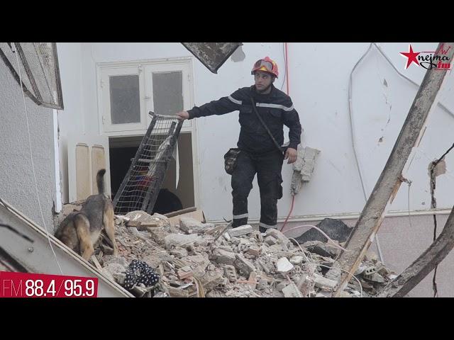 فيديو انتشال ضحايا حادثة إنهيار مبنى سكني بسوسة