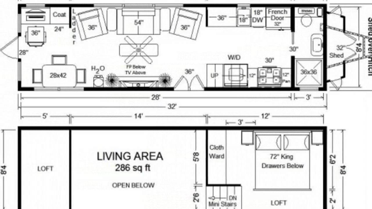 Tiny House Floor Plans: 32\' Long Tiny Home on Wheels Design - YouTube