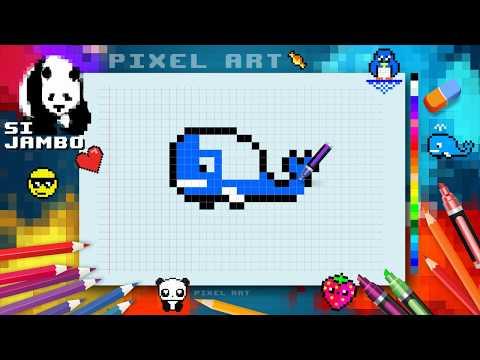 Draw Whale Mosaic Pixel ART - Si Jambo |