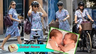 Pregnant Pippa Middleton keeps her cool around London on her bike with twins