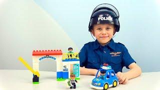 Полицейский участок с машиной ПОЛИЦИИ Лего Дупло. Даник ловит воришку из лего кафе