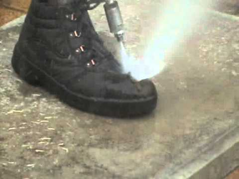 Safety At Work - Water Jetting Boots Damaged By High Pressure Water