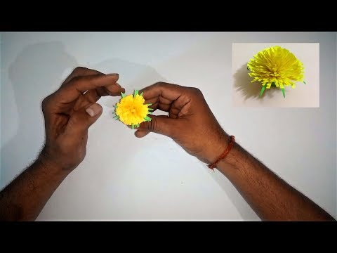 DIY Artificial Marigold Flower | How to Make Paper Marigold Flower Step By Step