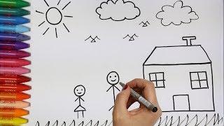 Come disegnare e colorare i Bambini e la Casa - Torta di Compleanno - Una Ragazza - Coniglio