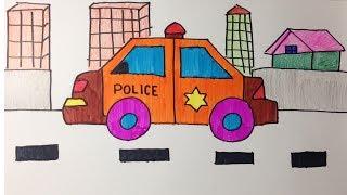 วาดและระบายสีรถตำรวจ  รถไซเรน  สำหรับเด็ก  Coloring  Police Car for kids