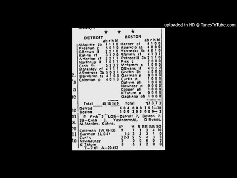 Detroit Tigers at Boston Red Sox, Sept 21, 1972 - Partial Game Broadcast (Audio)