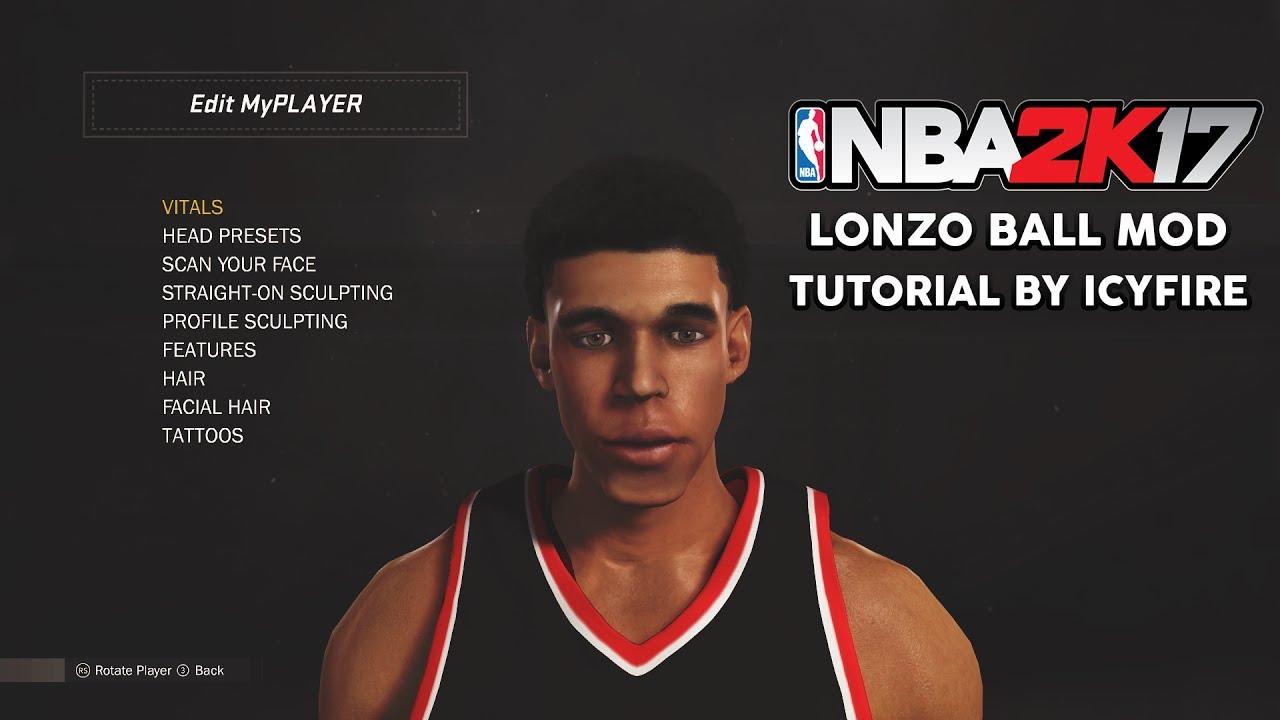 NBA 2K17 CHINO HILLS MOD #2 - LONZO BALL CYBERFACE MOD TUTORIAL | HOW TO PLAY AS LONZO BALL IN ...