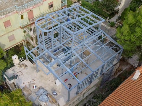 Εναέριο Βίντεο παρακολούθησης προόδου κατασκευής μεταλλικού κτιρίου