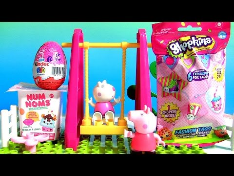 Peppa Pig Playground Swing Construction Building Blocks With Kinder Surprise My Little Pony