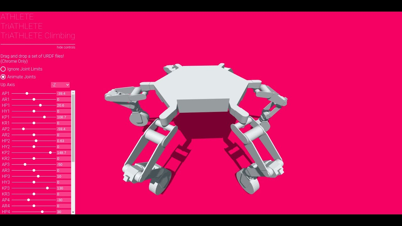 NASA JPL Athlete Robot URDF Webviewer