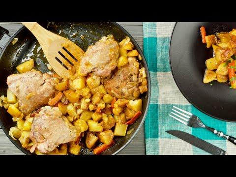 Курица с картошкой на сковороде с мёдом и соевым соусом